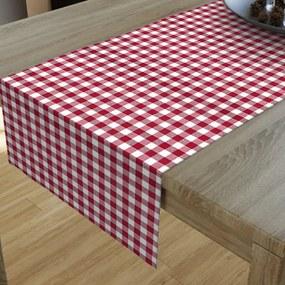Goldea dekoračný behúň na stôl menorca - vzor červené a biele kocky 35x120 cm
