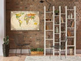 Obraz na plátne Bimago - Map and Ornaments 90x60 cm