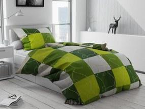Bavlnené obliečky Šach zelený Rozmer obliečok: 70 x 90 cm, 140 x 220 cm