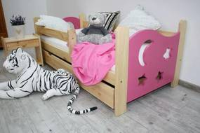 Detská posteľ SEVERYN + rošt ZADARMO, s úložným priestorom, borovica/ružová, 70x160cm