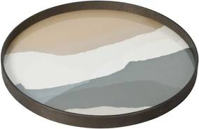 Ethnicraft Podnos Glass Tray Round L, slate wabi sabi