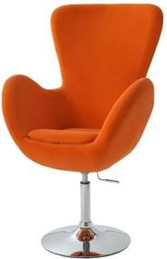 TEMPO KONDELA Relaxačné kreslo,látka oranžová/chróm, OLLI