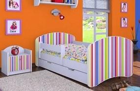MAXMAX Detská posteľ so zásuvkou 180x90cm PRÚŽKY