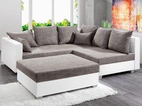 Rohová sedacia súprava s taburetom Twist, biela ekokoža/melírová tkanina