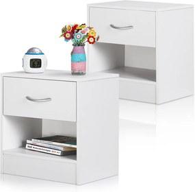 2x nočný stolík so zásuvkou a poličkou - biely