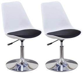 2 čierno biele otočné kuchynské stoličky s nastaviteľnou výškou