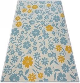 MAXMAX Detský kusový koberec KVETY - krémový šedá