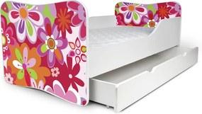 MAXMAX Detská posteľ so zásuvkou FAREBNÉ KVETY + matrac ZADARMO