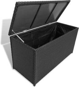 Zahradny úložný box, čierný polyratan