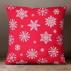 Goldea vianočná bavlnená obliečka na vankúš - vzor vločky na žiarivo červenom 30 x 50 cm