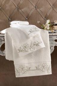 Soft Cotton luxusná osuška VIOLA 85 x 150 cm Smotanová / zlatá výšivka
