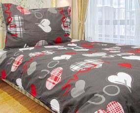HoD Obliečky I Love you šedé Bavlna 70x90 140x200 cm