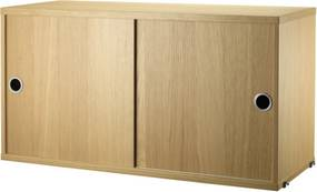 String Komoda String Cabinet With Sliding Doors 78 x 30, oak