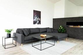 Dizajnová sedačka s otomanom Ansley tmavosivá - pravá