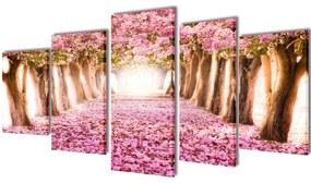 vidaXL Sada obrazov na stenu, motív Rozkvitnuté čerešne 100 x 50 cm