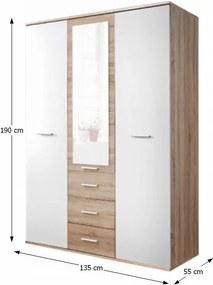 TEMPO KONDELA Emio Typ 3 3D šatníková skriňa so zrkadlom dub sonoma / biela
