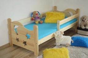 Detská posteľ SEVERYN + rošt ZADARMO, s úložným priestorom, prírodný-lak, 70x160 cm