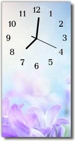 Sklenené hodiny vertikálne  fialové kvety