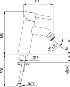 TRES - ALPLUS Bidetová jednopáková batéria (20392001)
