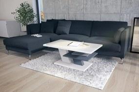 Mazzoni CLIFF biely lesk + svetlý sivý, konferenčný stolík