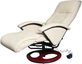 60312 Edco Elektrické masážne kreslo z umelej kože, krémovo biele