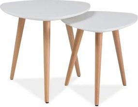 Set príručných stolíkov, biela / buk, NOLAN A