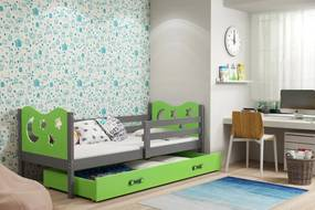 BMS Group Jednolôžková posteľ MIKO - so zásuvkou - GRAFIT