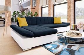 Moderná rohová sedačka Malaga, biela / modrá Roh: Orientace rohu Levý roh