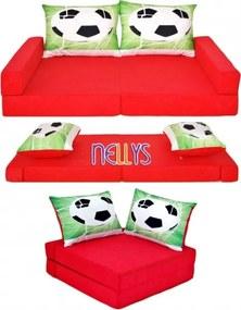 NELLYS NELLYS Rozkladací dětská pohovka 3 v 1 - P16 - Fotbal červený