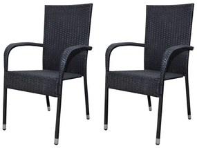 Záhradné jedálenské stoličky, 2 ks, polyratanové, čierne