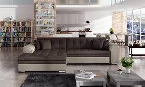 Moderní rohová sedačka Santos, hnědá    Roh: Orientace rohu Levý roh