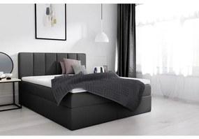 Extravagantná čalúnená popsteľ Sven s úložným priestorom čierna eko koža 140 x 200