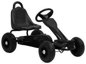 Detská šľapacia motokára s pneumatikami, čierna