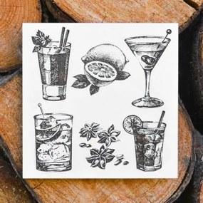 Lacný drevený obraz do kuchyne - Drinky