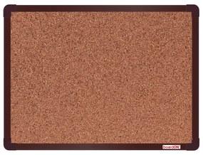 Korková nástenka boardOK v hliníkovom ráme, 60 x 45 cm, hnedý rám