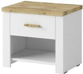 Sconto Nočný stolík MERANO 2 ks, biela/dekor dub wotan