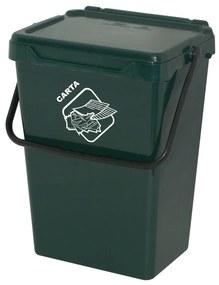 Plastový odpadkový kôš, tmavo zelený, 35 l