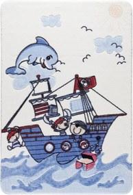 Detský modrý koberec Confetti Smiley Dolphin, 133 x 190 cm