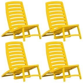 vidaXL Skladacie plážové stoličky 4 ks žlté plastové