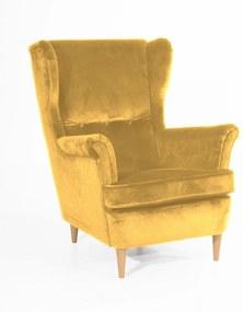 Žlté kreslo so svetlohnedými nohami Max Winzer Clint Suede