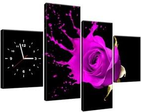 Obraz s hodinami Šplech fialová ruža 120x80cm ZP1217A_4E