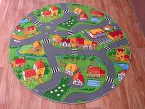 3kraft Detský guľatý koberec City sivo-zelený