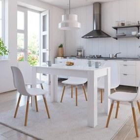 vidaXL Jedálenský stôl lesklý biely 120x60x76 cm drevotrieska
