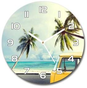 Sklenené hodiny na stenu Dodávka pláž pl_zso_30_f_90194725