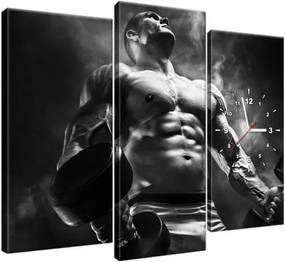 Obraz s hodinami Silný bodybuilder black and white 90x70cm ZP2428A_3C