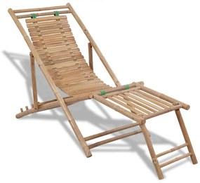 vidaXL Vonkajšie kreslo na terasu s opierkou na nohy, bambus