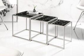 Set odkladacích stolíkov Factor 3 ks sklo-čierny mramor