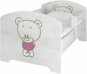 NELLYS Detská posteľ BABY BEAR ružový vo farbe nórskej borovice + matrac zadarmo NELLYS 111370
