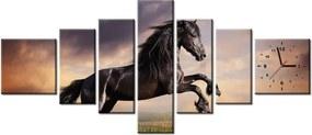 Tlačený obraz s hodinami Silný čierny kôň 160x70cm ZP1149A_7C
