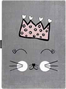 Detský kusový koberec Mačacie princezná sivý, Velikosti 120x170cm